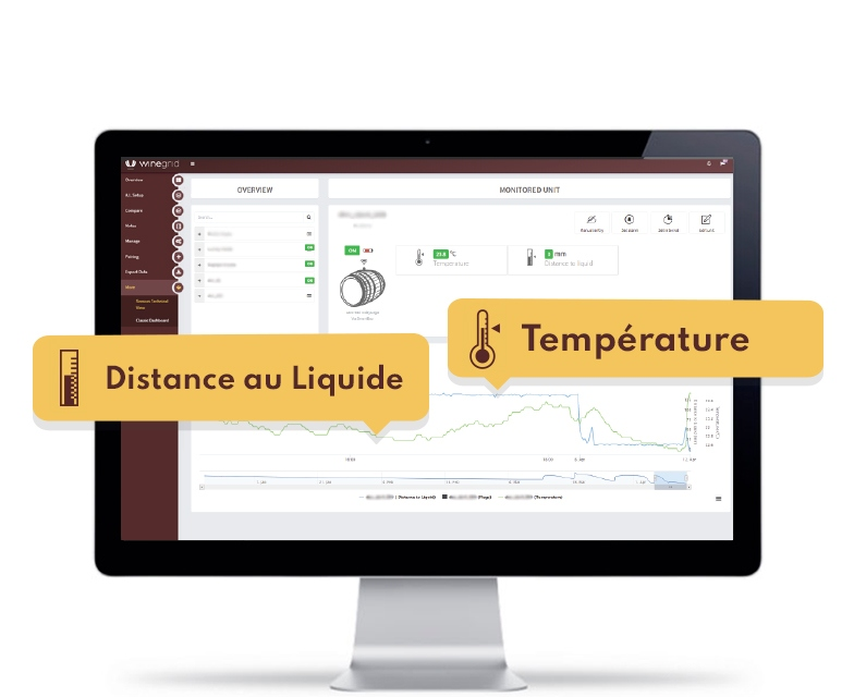 WINEGRID e-bung dashboard température distance au liquide