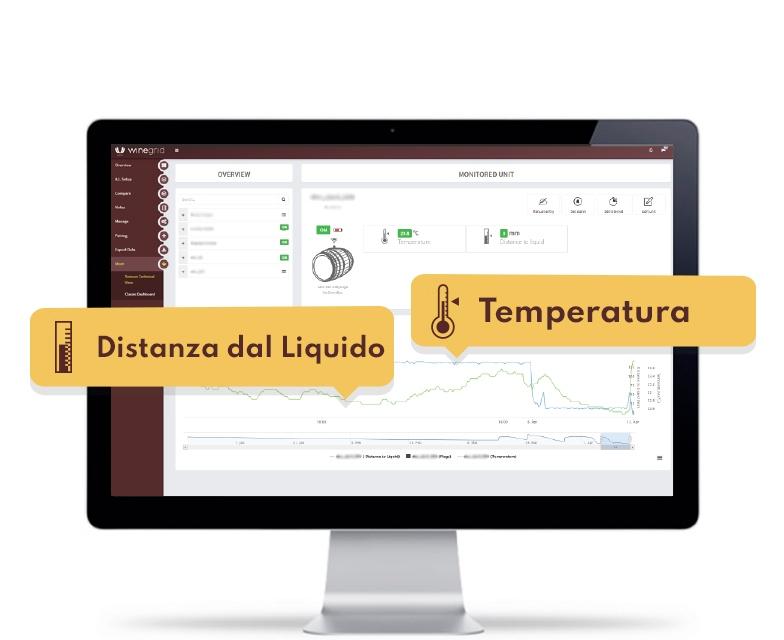 winegrid e-bung dashboard temperatura distanza dal liquido