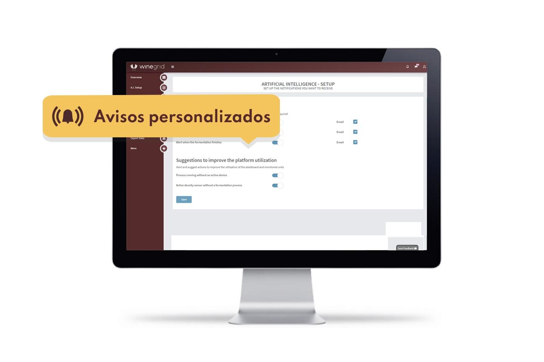 WINEGRID dashboard AVISOS Y NOTIFICACIONES PERSONALIZADAS